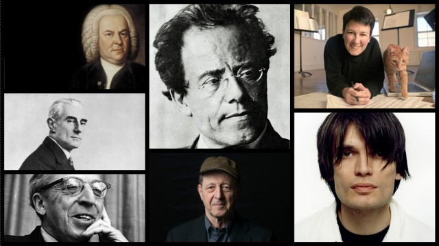 "Clockwise: J.S. Bach, Gustav Mahler, Jennifer Higdon, Jonny Greenwood, Steve Reich, Aaron Copland and Maurice Ravel. All composers. Not all ""classical."" --via Medium for Cuepoint"