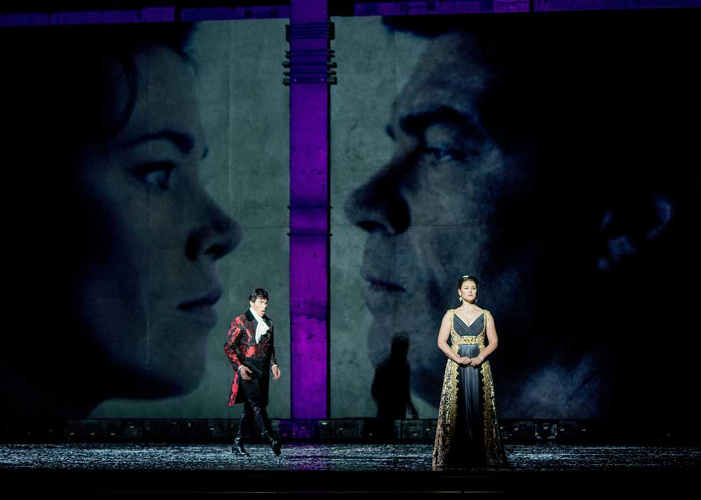 Franco Pomponi as Eugene Onegin and Natalia Pavlova as Tatyana Larina in Eugene Onegin at Spoleto Festival USA. Photo by Leigh Webber Photography.