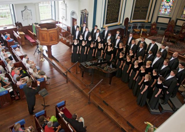 The Westminster Choir at Charleston's Cathedral Church of St. Luke & St. Paul at the Spoleto Festival USA. Photo by Julia Lynn Photography.