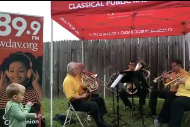 Screenshot of Classical Harvest Concert at the Cobblestone Farmers Market in Winston-Salem, North Carolina on Facebook live.