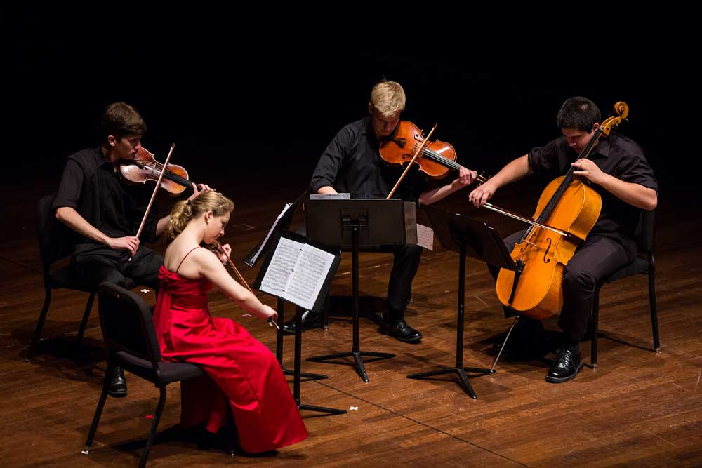 Quartet Bellezza performing at the Young Chamber Musicians Competition finals in the Duke Family Performance Hall on the campus of Davidson college.