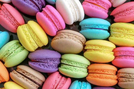 Assorted colors of macarons.