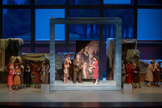 Matthew Anchel (center) in the US premiere of Donizetti's Pia de' Tolomei. Photo by Leigh Webber.