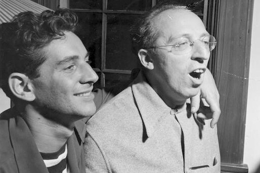 Bernstein with composer, mentor and friend, Aaron Copland at Bernardsville, NJ. August 1945.