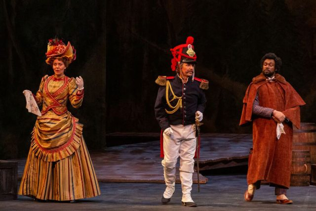Pictured (left to right): Maariana Vikse as the Marquise of Berkenfeld, with Matthew Burns (as Sergeant Sulpice) and Carl DuPont (as Hortensius) in Opera Carolina's production of The Daughter of the Regiment. Photo Credit: Mitchell Kearney Photography.