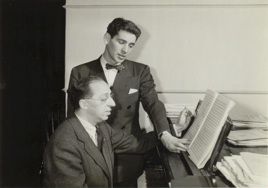 Aaron Copland with Leonard Bernstein, ca. 1940