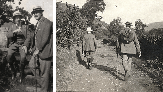 Ralph Vaughan Williams and Gustav Holst walking in the Malvern Hills.