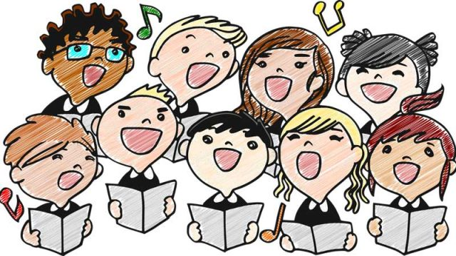Drawing of kids chorus. Image by Gustavo Rezende