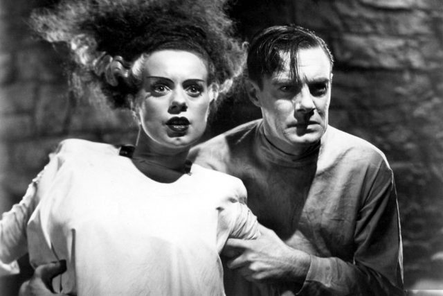 Elsa Lanchester & Colin Clive in Bride of Frankenstein (1935).