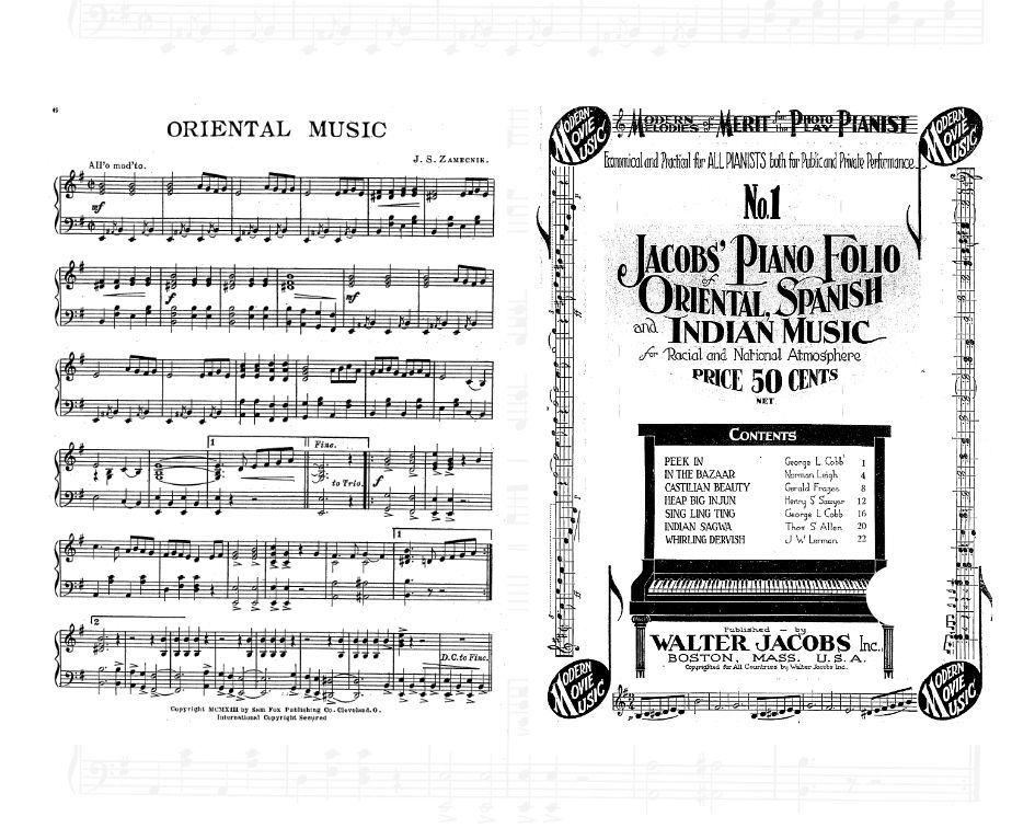 Sheet music: Oriental Music and No. 1 Jacobs' Piano Folio Oriental Spanish and Indian Music.