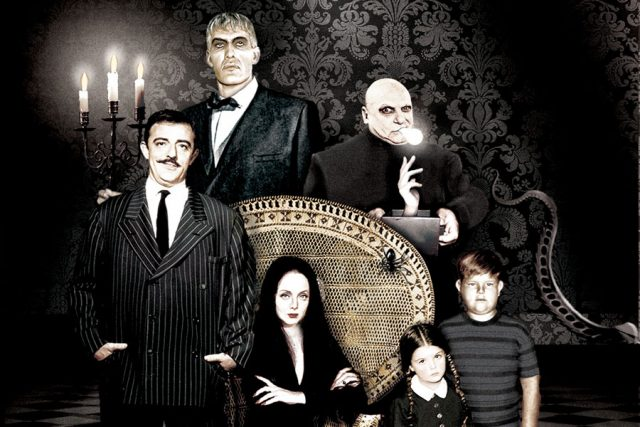 Art rendering with John Astin, Carolyn Jones, Jackie Coogan, Ted Cassidy, Lisa Loring & Ken Weatherwax - The Addams Family.