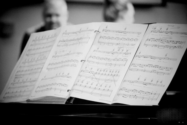 Sheet music on stand. Photo by Debby Hudson