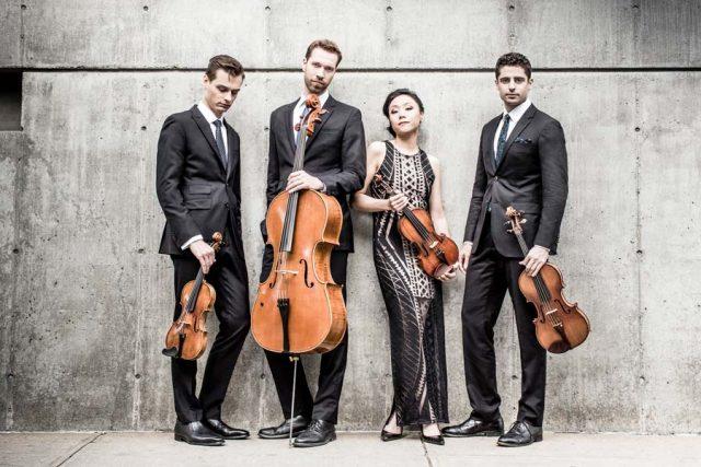 The Tesla Quartet is Ross Snyder (violin), Michelle Lie (violin), Edwin Kaplan (viola), and Serafim Smigelskiy (cello).