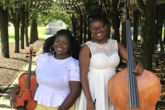 Violist Katie Brown and double bassist Dalanie Harris of the Classically Black podcast.