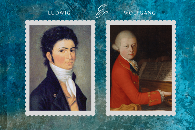 Ludwig Beethoven and Wolfgang Mozart as young men collage.