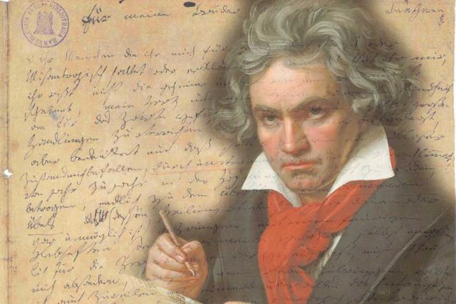 Beethoven superimposed on the Heiligenstaedter Testament