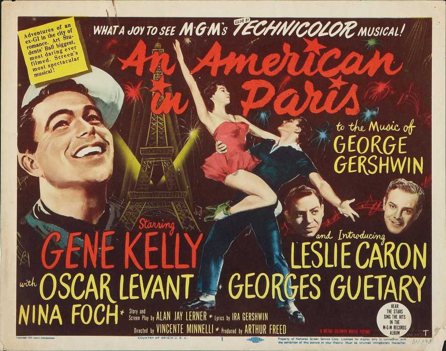 "Movie poster for An American in Paris with the names of the lead actors and ""the music of George Gershwin"""