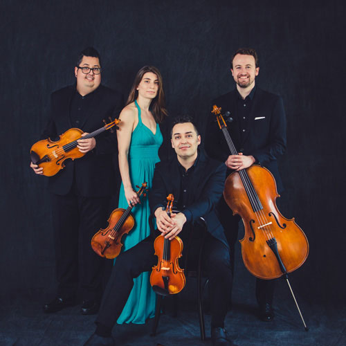 Beo String Quartet - four members of the group hold their instruments as they look toward the camera.