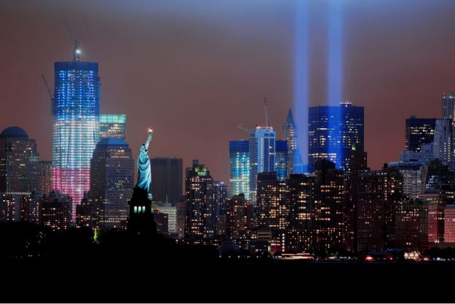 NYC at night commemorating Nine Eleven.
